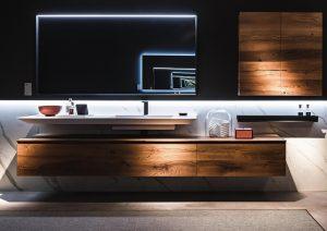 Meuble de salle de bains suspendu en bois_IDEA