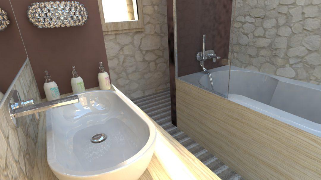 salle de bains parentale dans un Mas en Cévennes