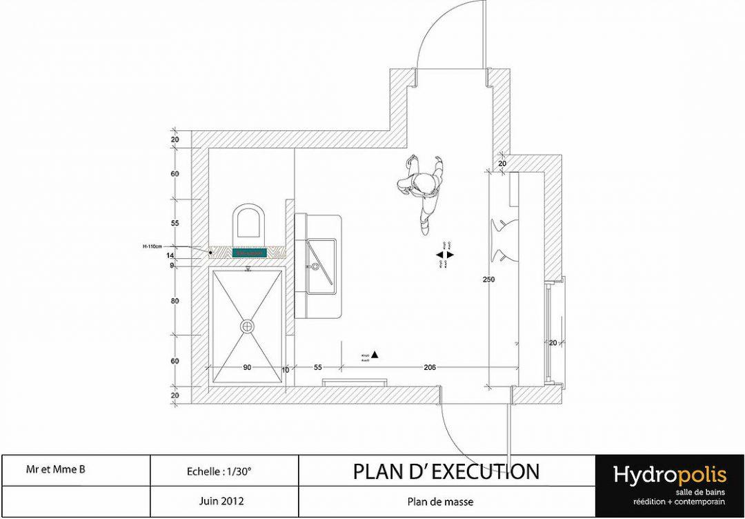 Plan d'exécution d'une salle de bain sur Avignon