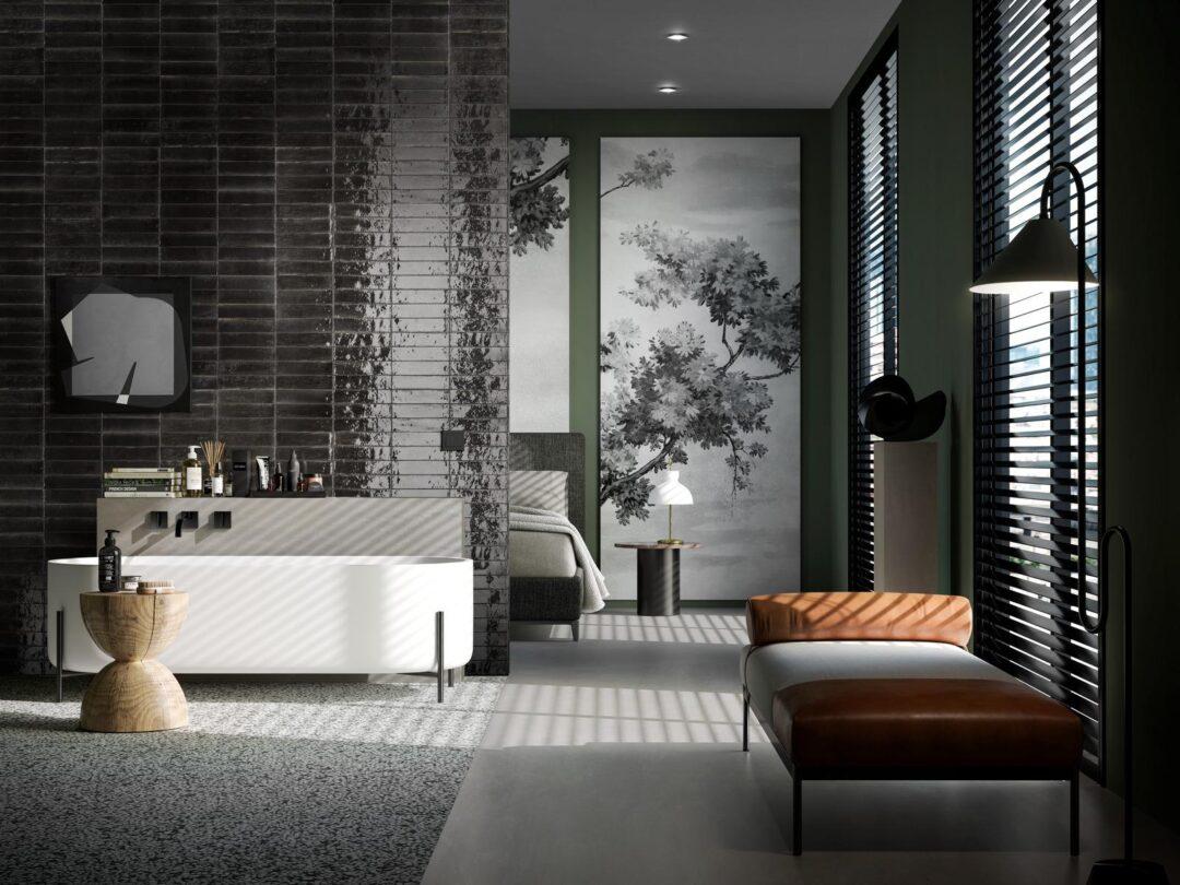Tendances carrelage et zellige pour une salle de bains en noir et blanc