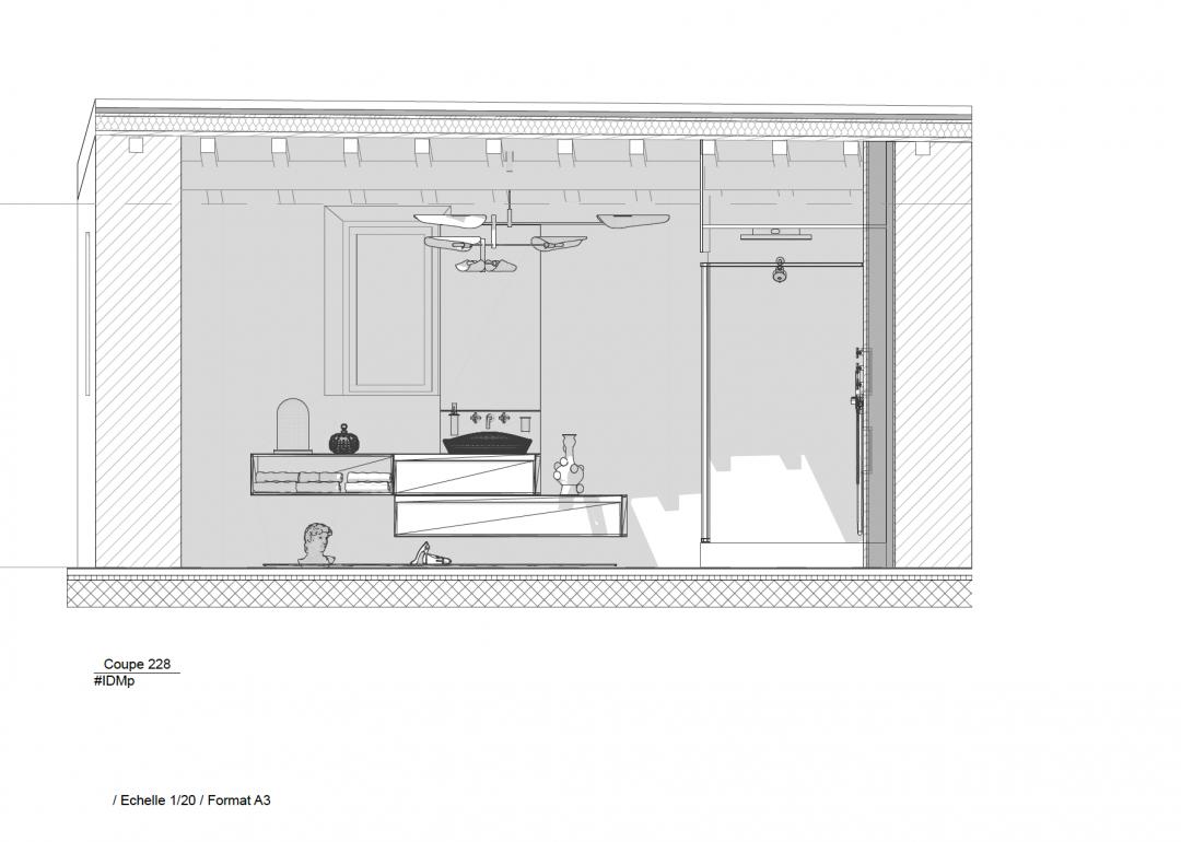 Plan de coupe grande salle de bains