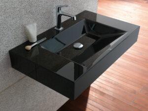 Vasque suspendue rectangulaire noire en acier émaillée_Bette Chez Hydropolis