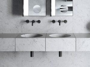 Double vasque suspendue carré en marbre avec miroir_Salvatori Chez Hydropolis