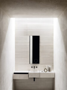 Vasque suspendue carré en marbre avec miroir_Salvatori Chez Hydropolis